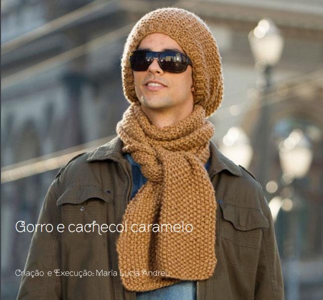 Conjunto Gorro e Cachecol Masculino em Ponto Arroz ~ Armarinho São José 13b0bf3268c