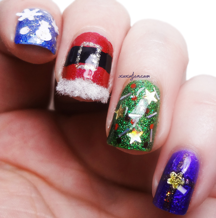 xoxoJen's Holiday nail art 2014
