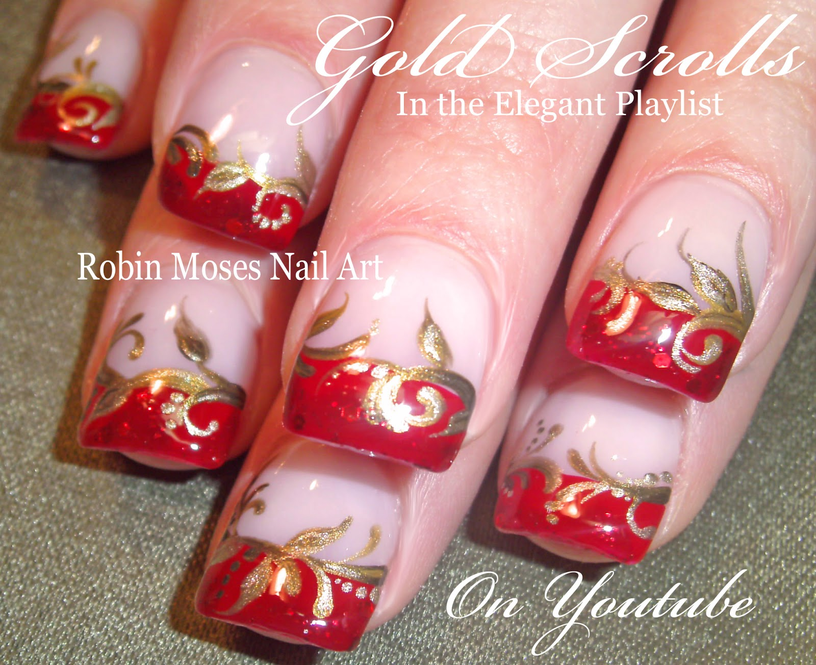 Red And Gold Scroll Nail Art Design