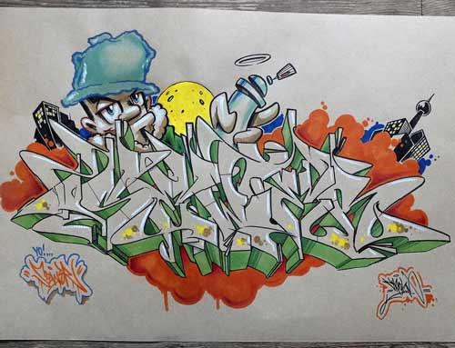 pertemuan kali ini aku akan menunjukkan wangsit desain bagi kalian semua 30+ Gambar Tulisan Graffiti Keren Di Kertas