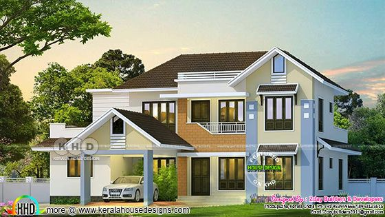 Mixed roof house rendering 2998 square feet