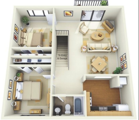 rumah sederhana 3 kamar tidur minimalis, 2 kamar tidur dan