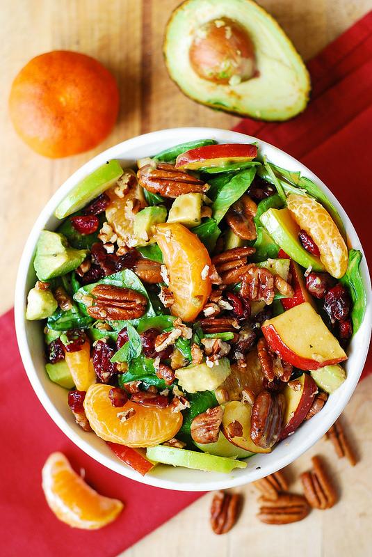 #Recipe : Apple Cranberry Spinach Salad with Pecans, Avocados