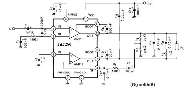 20 watt amplifier electronic project circuit and