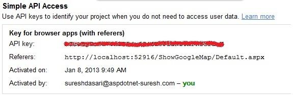 Get Google Maps Api Key for Localhost Website - ASP NET,C#