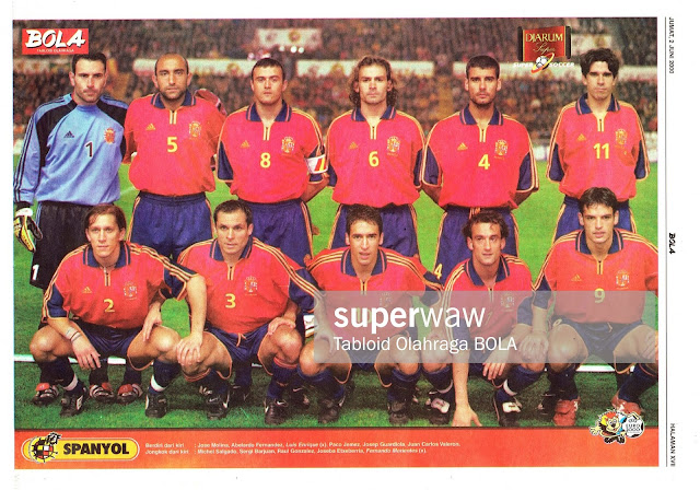 SPAIN FOOTBALL TEAM SQUAD EURO 2000