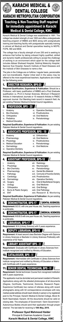 Jobs In Karachi Medical And Dental College Apr 2019