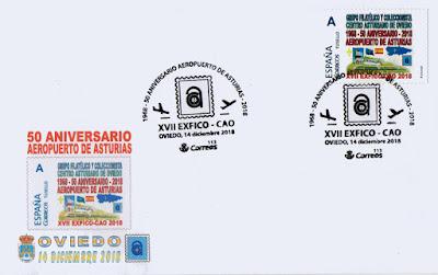 Sobre matasellado con el 50 aniversario del Aeropuerto de Asturias