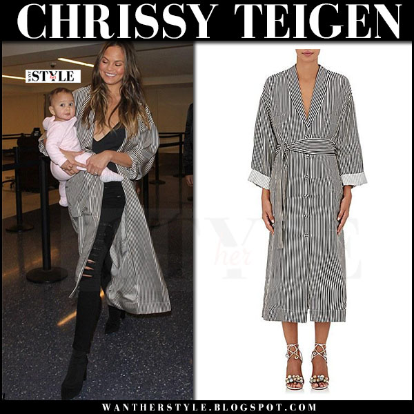 Chrissy Teigen in striped coat zimmermann winsome, black jeans and black ankle boots tony bianco diddy what she wore