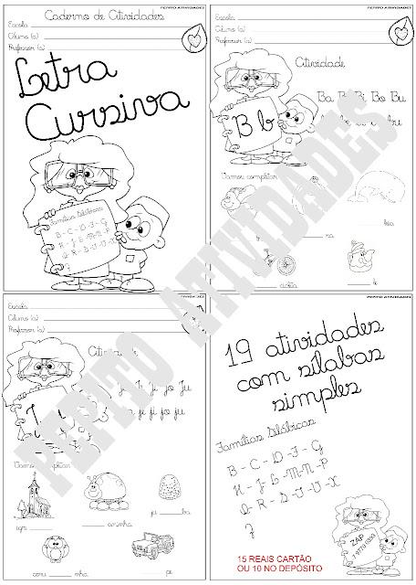 Caderno de Atividades Letra Cursiva  Famílias Silábicas