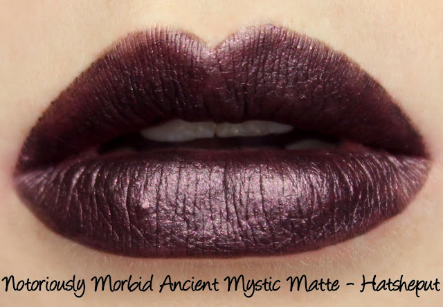 Notoriously Morbid Ancient Mystic Matte - Hatsheput Lipstick Swatches & Review