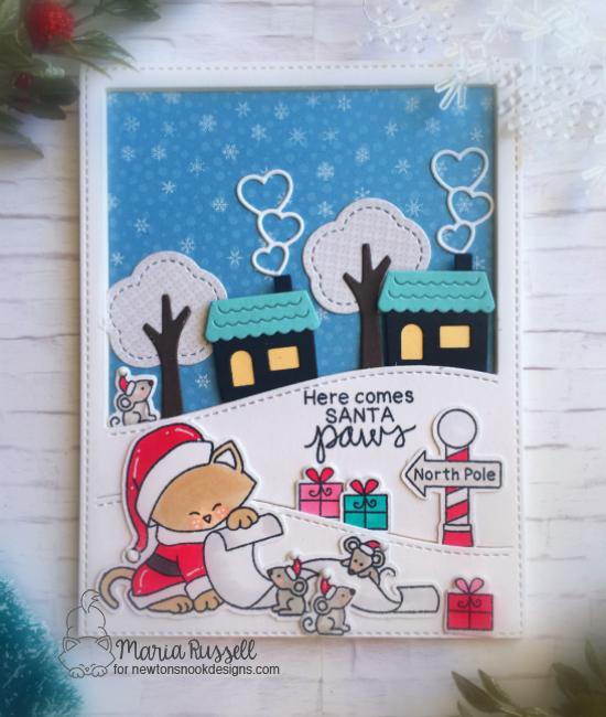 Santa Cat Christmas Card by Maria Russell | Santa Paws Newton Stamp Set by Newton's Nook Designs #newtonsnook #handmade