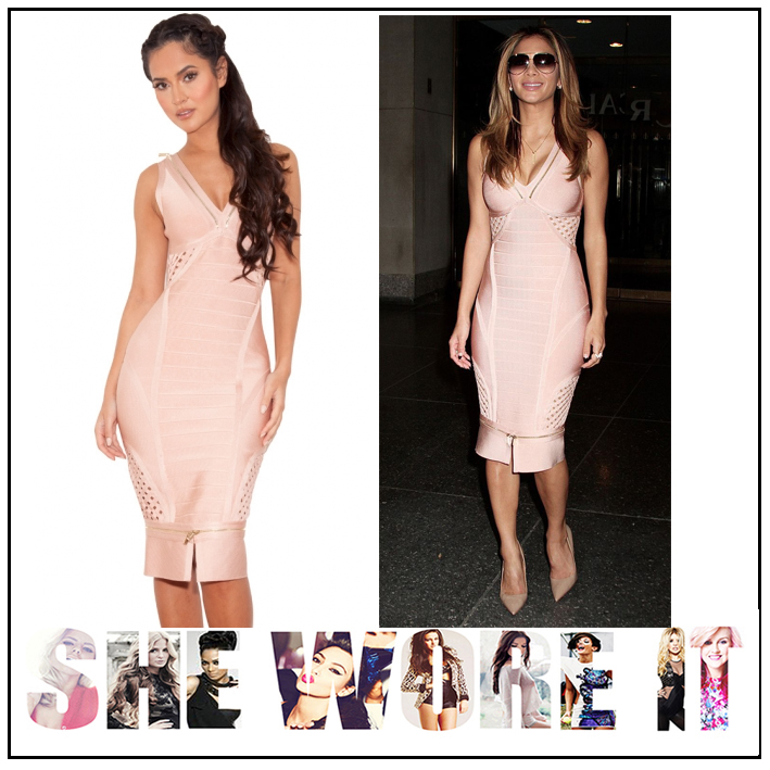 Nicole Scherzinger In House Of Cb Katana Nude Rose Pink