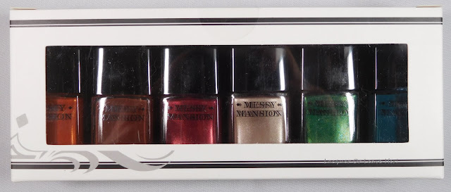 Messy Mansion's Christmas Collection stamping polishes: Gingerbread, Pudding, Holly, Jingle Bells, Ivy, and Spruce