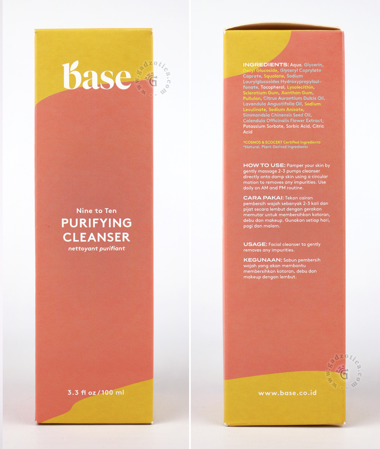 Ingredients base purifying cleanser