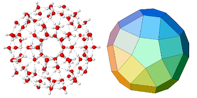 A hypothetical water cluster made from 100 water molecules, forming an icosahedral shape.
