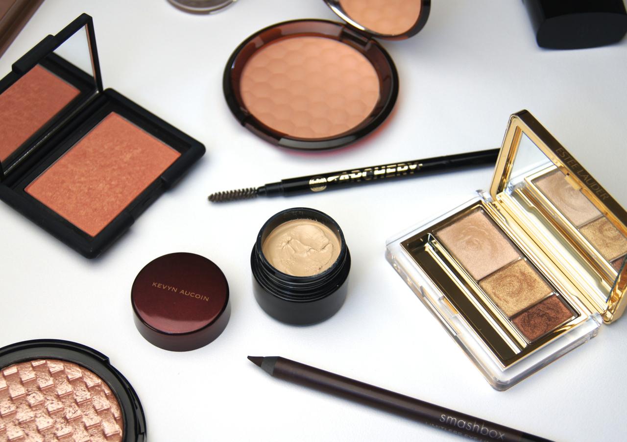 current makeup bag staples concealer eyeliner eyeshadow brow pencil bronzer blush