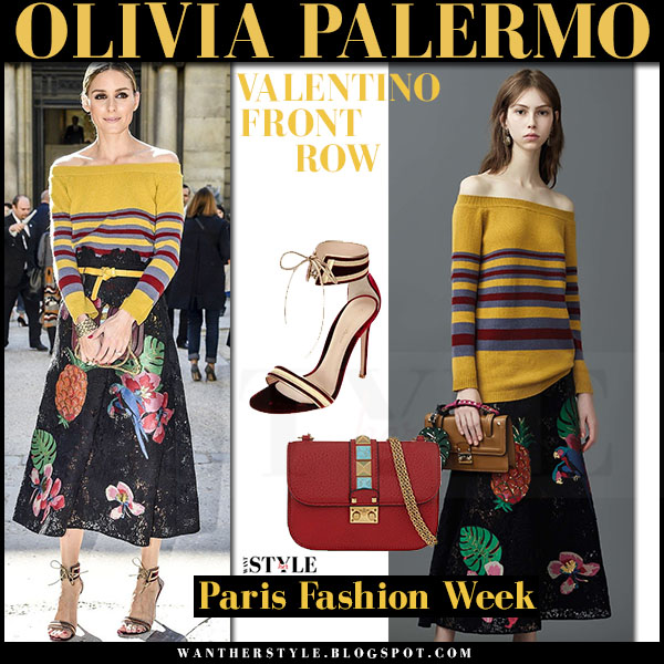 Olivia Palermo in yellow striped off shoulder sweater and black tropical floral print midi skirt Valentino front row paris what she wore