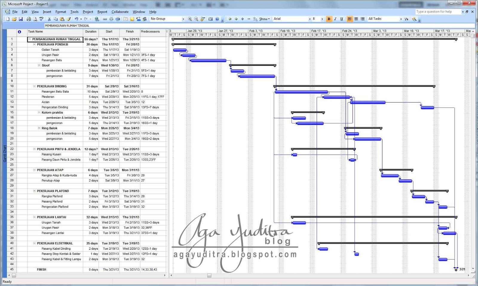 Aga Yuditra Blog Tutorial Membuat Scedule Menggunakan Microsoft Project