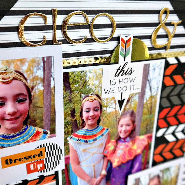 Cleo and Alice Halloween Scrapbook Layout with DIY Foil Letters
