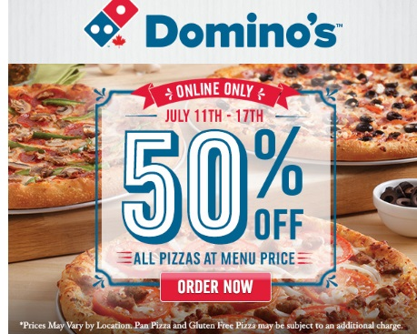 Dominos 50% Off Pizza Coupon