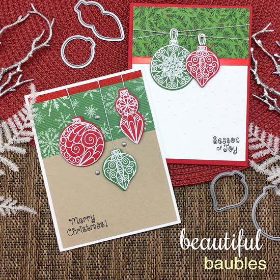 Ornament Cards by Jennifer Jackson | Beautiful Baubles Stamp Set by Newton's Nook Designs #newtonsnook