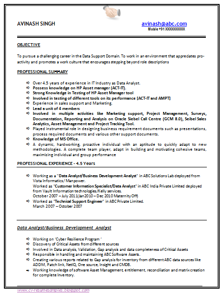technical support resume samples india