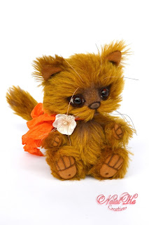 Artist teddy cat, jointed cat, handmade kitten, ooak, mohair kitten, NatalKa Creations, teddies with charm, cat brown, Teddykatze, Künstlerteddy, Teddys, Kater, Kätzchen
