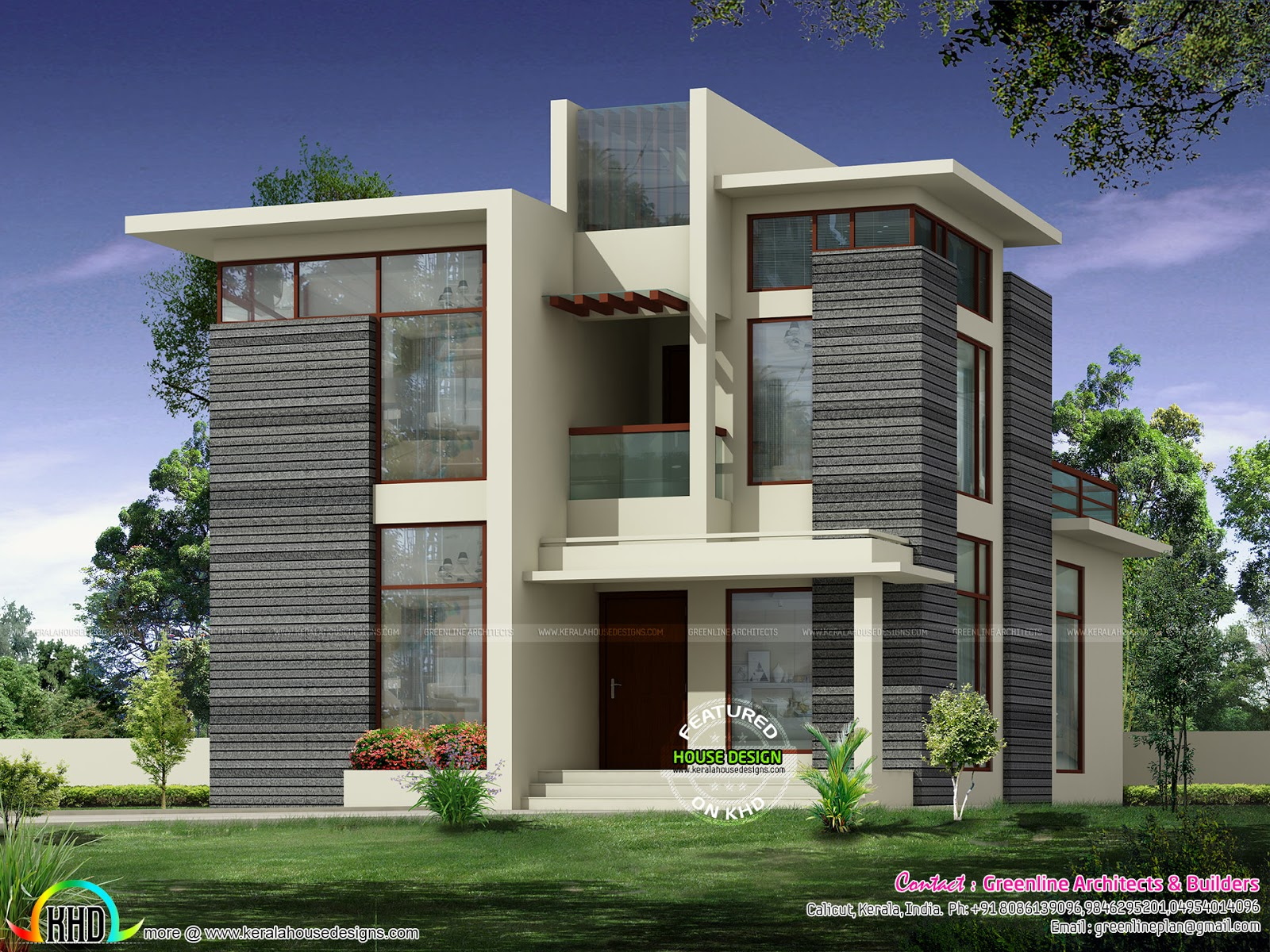 Kerala home design and floor plans 2236 sq ft modern for Kerala home designs contemporary