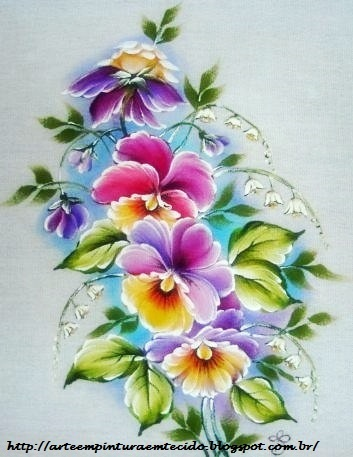pintura de flor pano de prato