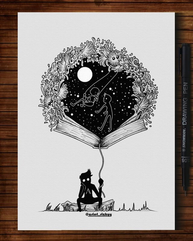 02-Book-of-memories-Mr-A-Black-and-White-Ink-Doodles-www-designstack-co