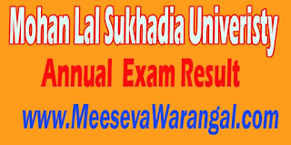 Mohan Lal Sukhadia Univeristy Annual 2016 Exam Result