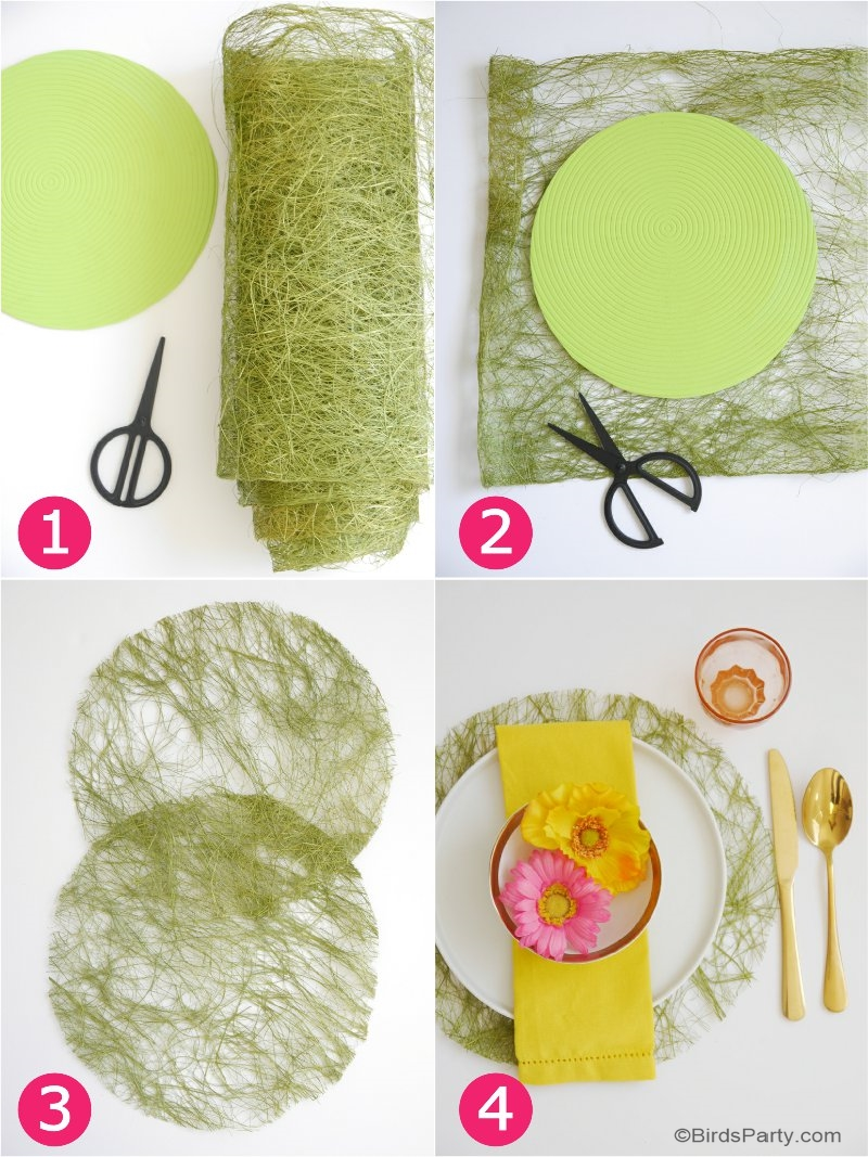 DIY Faux Grass Place-Mats - learn to make these quick, easy and pretty decorations for your Easter brunch table or spring party and tablescapes! by BirdsParty @BirdsParty