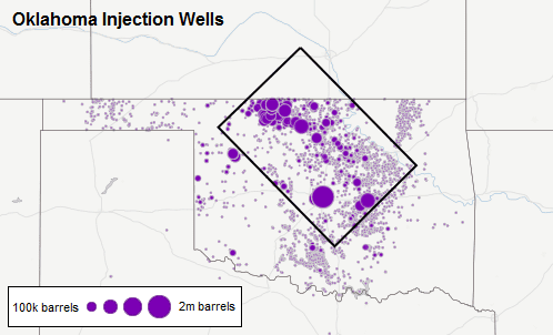 Oklahoma's injection wells, each one sized proportional to its annual injection volume