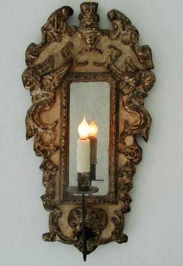 Antique Mirrored Sconce via Chateau Domingue as seen on linenandlavender.net