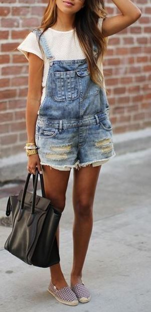 cute street style outfit: denim jumpsuit + top + bag