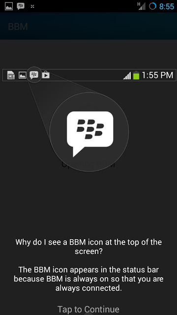 Black Berry Messenger- Android status bar