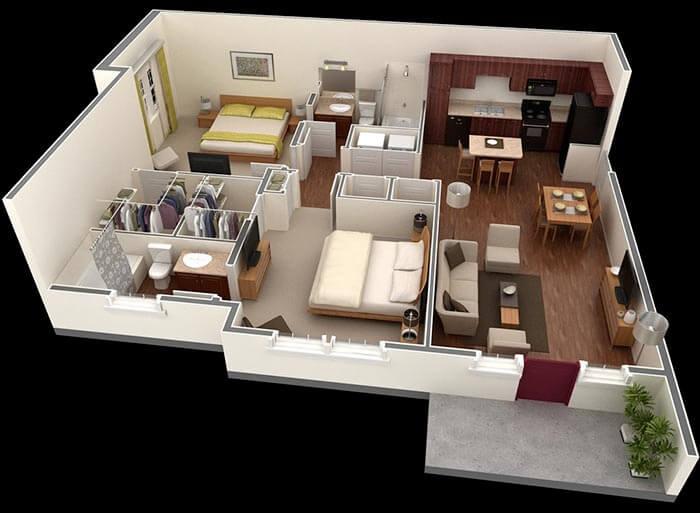 2 yatak odalı  prefabrik ev modelleri