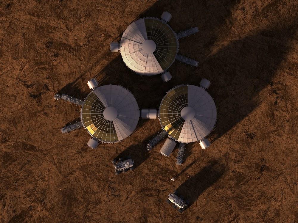 Mars base from sky - concept art for The Martian by Steve Burg