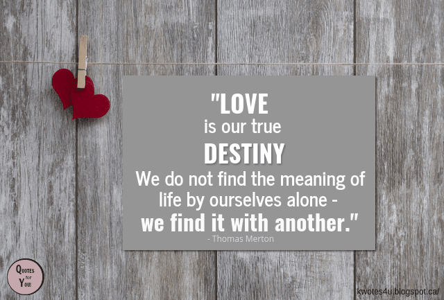 Quotes For You Love Is Our True Destiny We Do Not Find The