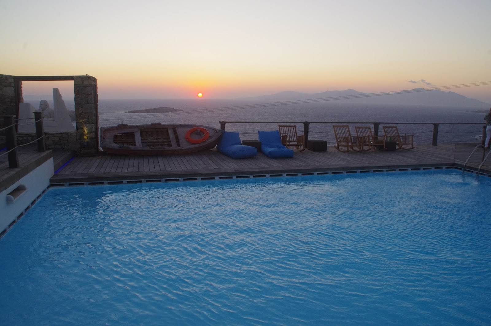 Tharroe of Mykonos Sunset over pool