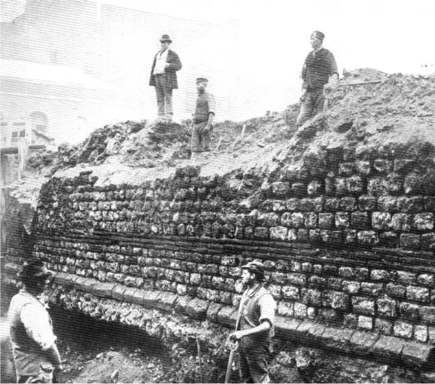 Demolition of Roman Wall at Tower Hill for Inner Circle Railway, 1882