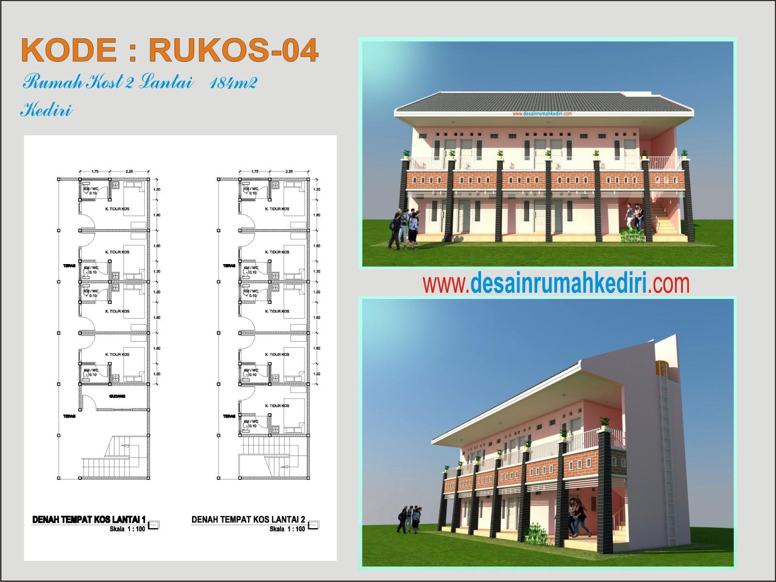 RUKOS 04 Rumah Kos 2 Lantai Minimalis warna pink Kota