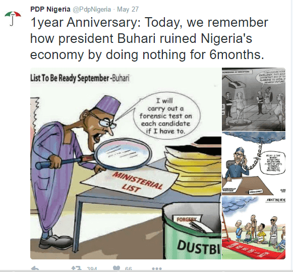 PDP Cartoon message to Nigeria on Democracy day on How President  Buhari ruined Nigeria in just 1 year 11