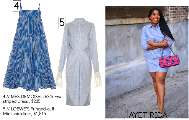 Blogger Hayet Rida In blue Stripe Dress