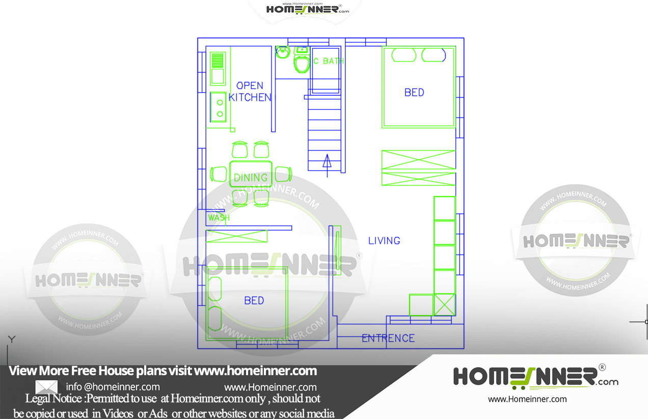 2 Cent 2 Bedroom 4 Lakh Budget Home free house plan
