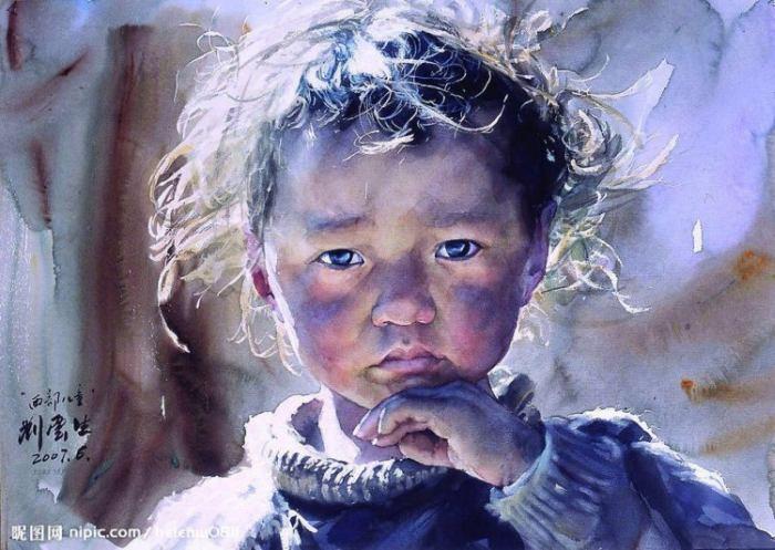 Акварельные портреты Тибета. Liu Yungsheng