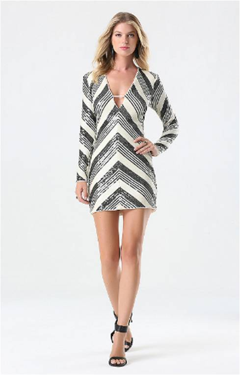 Multi Striped Sequin Dress