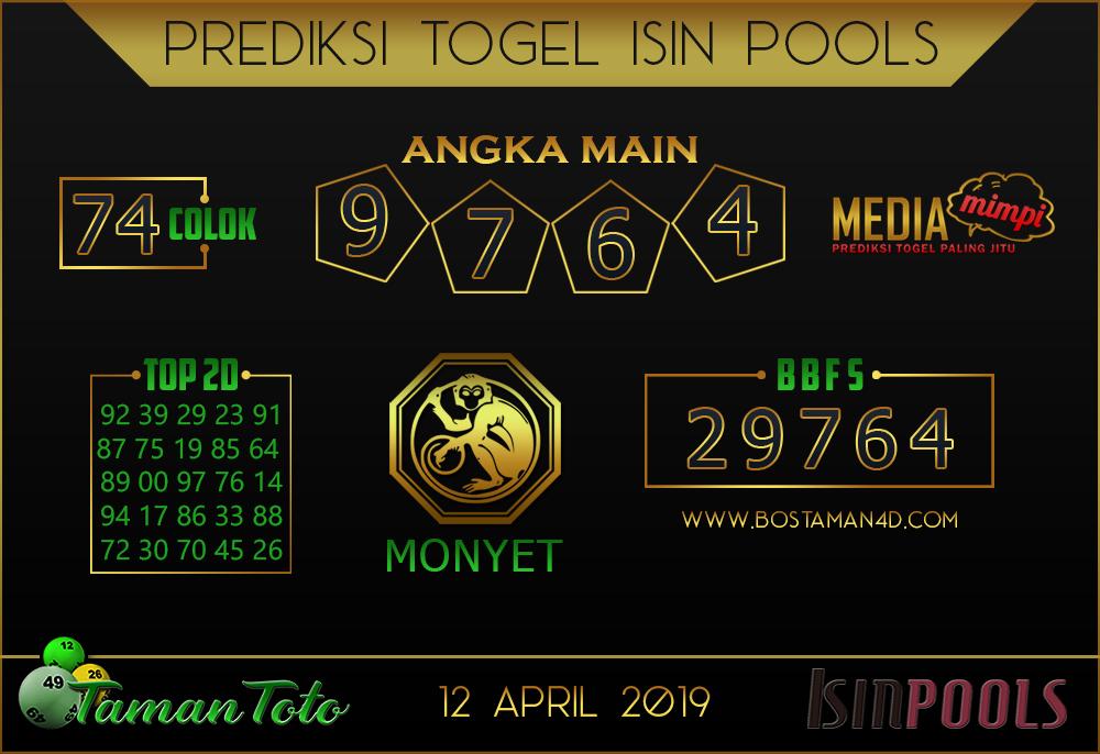 Prediksi Togel ISIN TAMAN TOTO 12 APRIL 2019