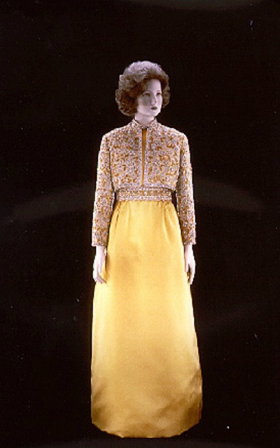 Yellow evening skirt with beaded jacket designed by Adele Simpson for Pat Nixon